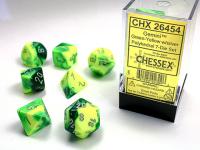 Green-Yellow w/silver Gemini™ Polyhedral 7-Die Sets
